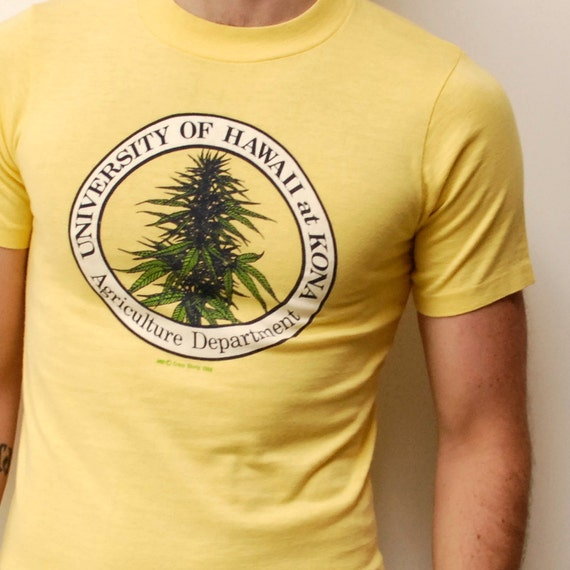 MARIJUANA 1980 rare Hawaii University COTTON-shirt made in usa