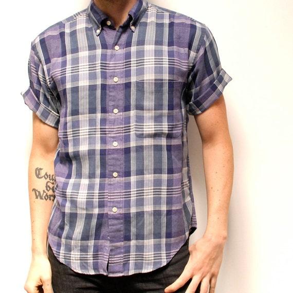 SUMMER soft block GRID PATTERN short sleeve button up shirt