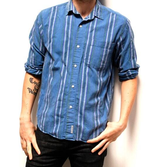 SOFT COTTON blue STRIPED long sleeve button up shirt