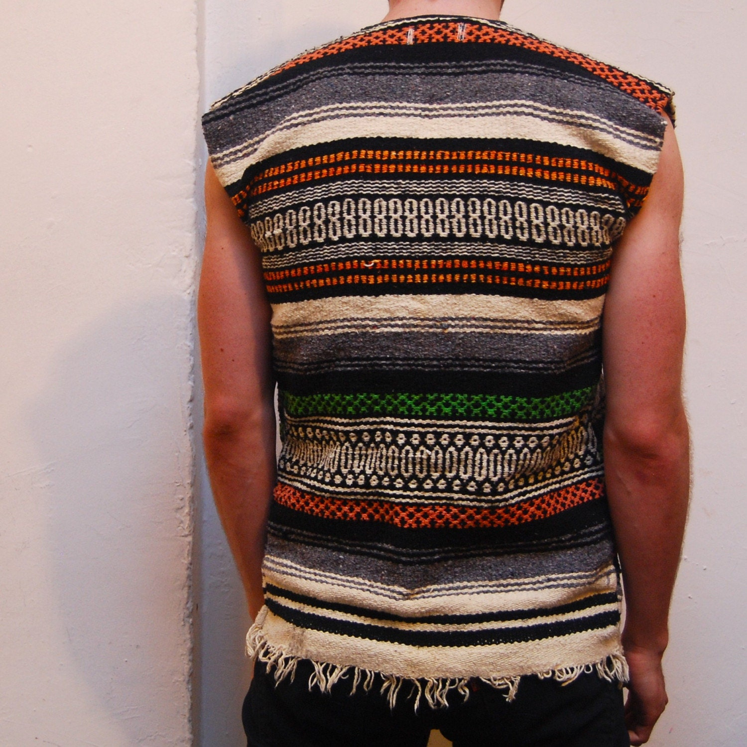 Woven MEXICAN Blanket Poncho SUMMER Hippie VEST With Pockets