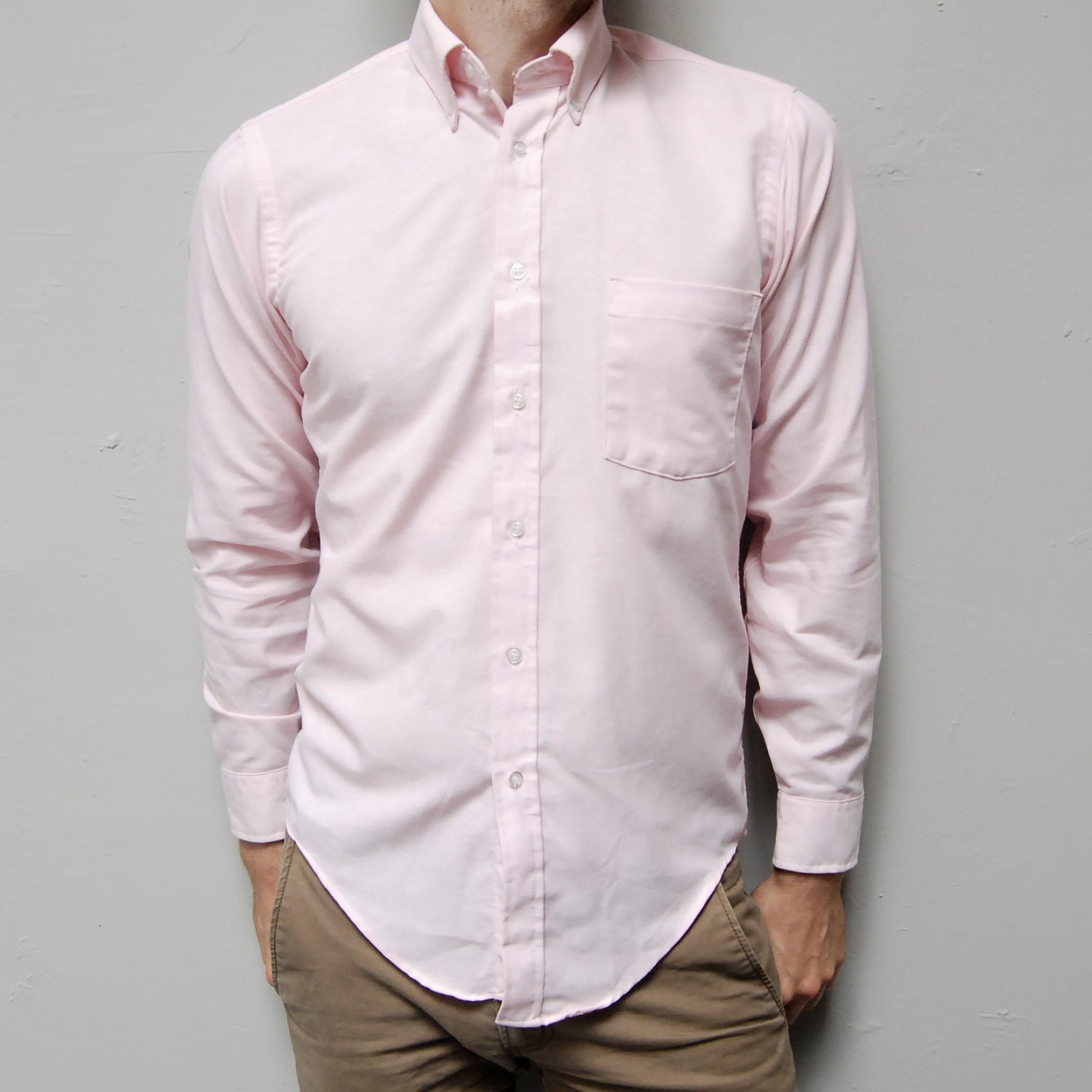 oxford light pink long sleeve small button up shirt made in