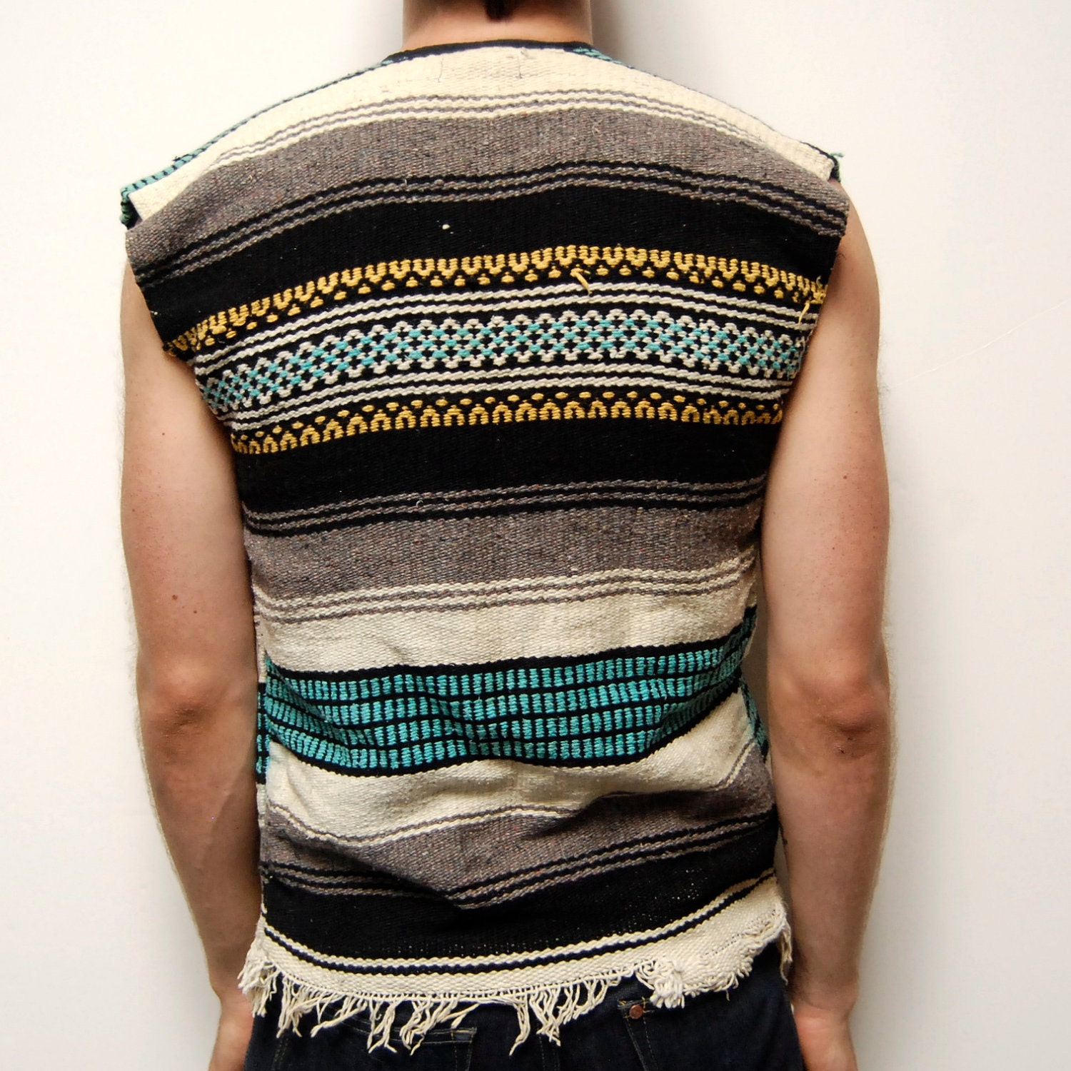 MEXICAN Blanket Poncho COTTON Woven VEST With Pockets