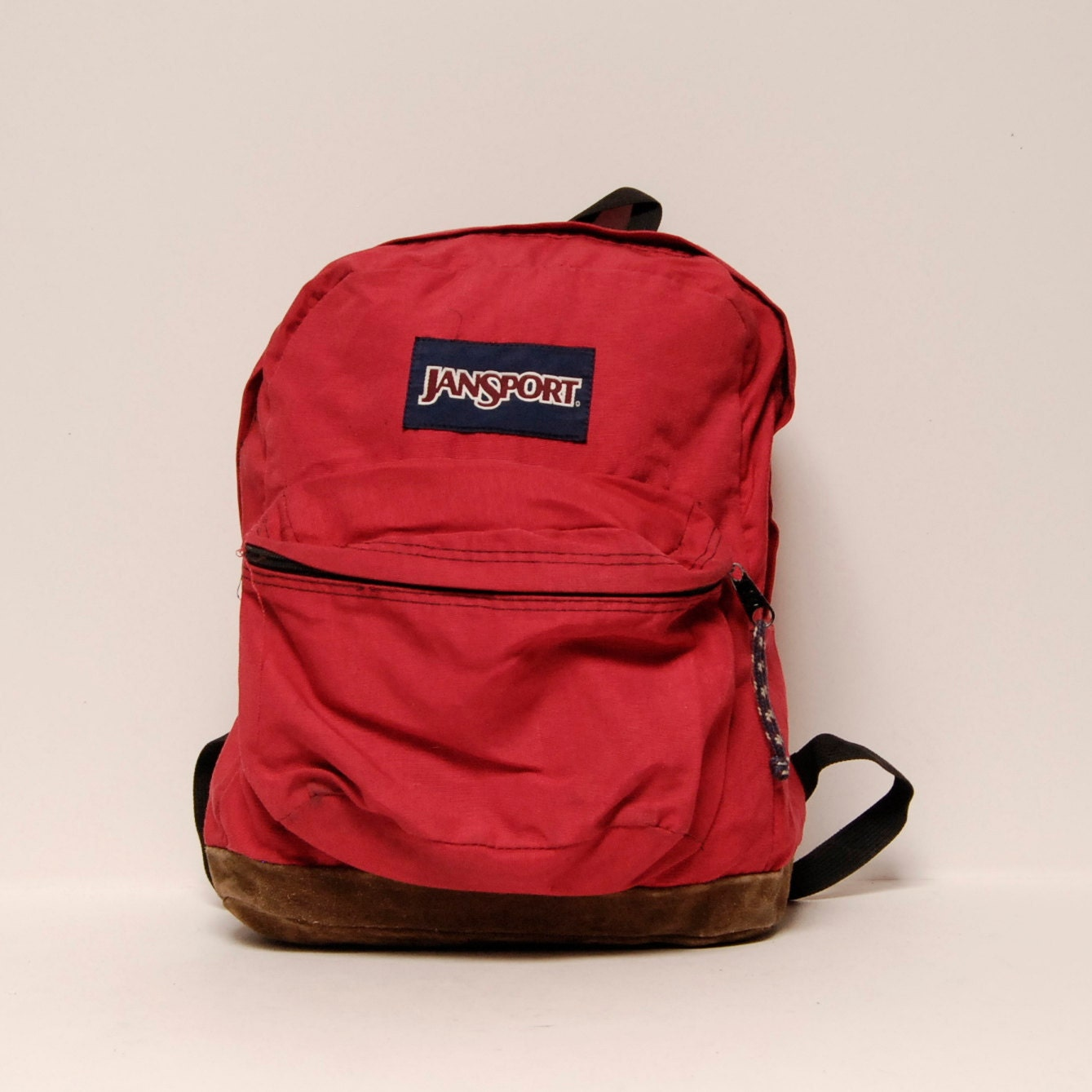 LEATHER JANSPORT red canvas classic BACKPACK