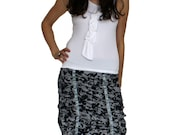 Pencil Skirt in Navy and White Stripe Print with Pleats, Ruching and Ribbon Detailing