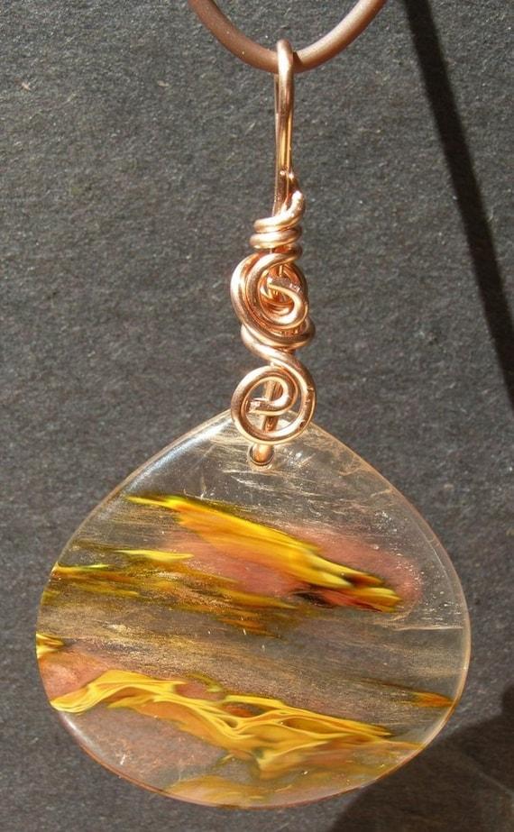 Volcano Cherry Quartz Pendant, copper wire wrap