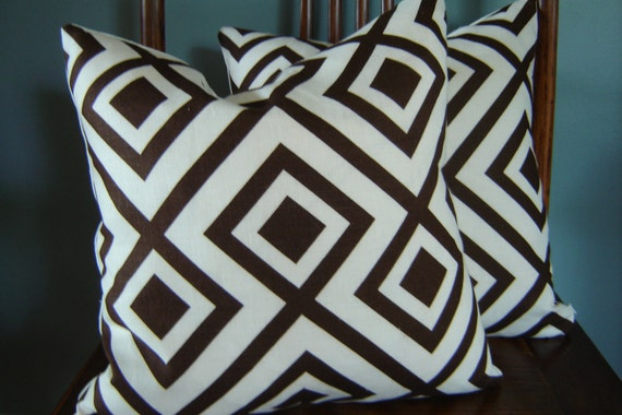 LA FIORENTINA Pillow Cover, David Hicks Fabric , Brown / Ivory