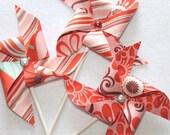 Fabric Pinwheels - Fandango in Coral Set of  3