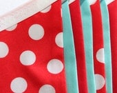 Large Fabric Bunting - Red and Turquoise