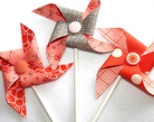 Fabric Pinwheels - Coral and Gray Set of  3 - SugarOwlDesign