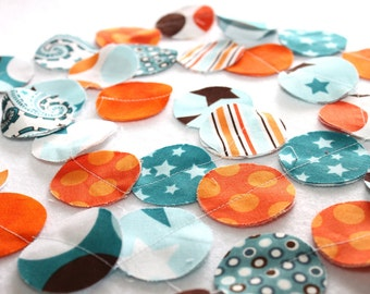 Fabric Circle Garland - Orange and Blue Decor - Birthday Garland