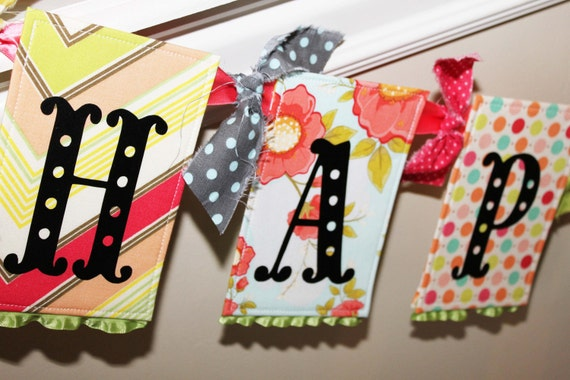 Fabric Birthday Banner - Daydream in Red and Aqua