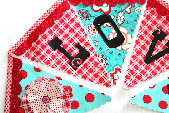 Fabric Bunting - Love in Red and Turquoise