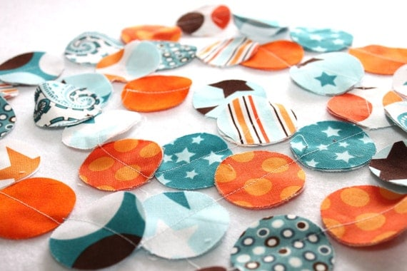 Fabric Circle Garland - All Star in Orange and Blue