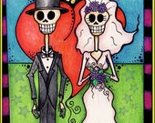 Personalized Day of the Dead Wedding/Anniversary Bride and Groom Greeting Card