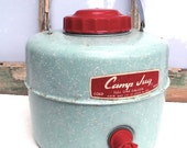 ROBIN'S EGG BLUE AND RED CAMP-JUG