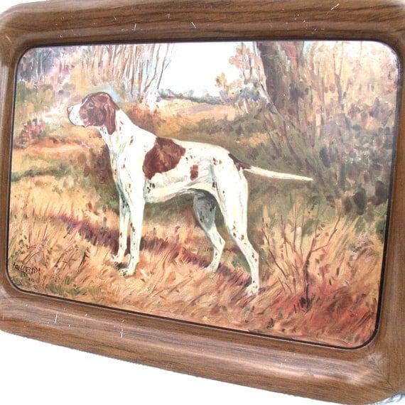 Vintage Hunting Dog Metal Tray