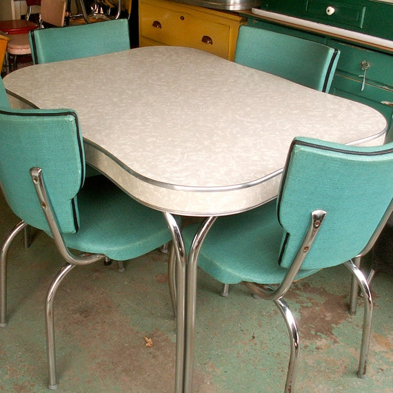"Vintage Chrome Kitchen Table: Items Similar To Vintage 1950""s Formica And Chrome Table With Four Chairs--Local Pick-Up On HOLD"