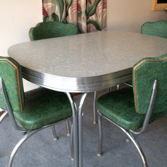 Black And White Retro Dining Table And Chairs Set: Items Similar To Vintage Gray Formica And Chrome Table