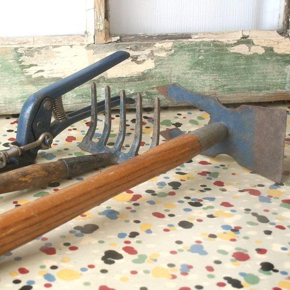 Set Of Three Vintage Garden Tools Blue
