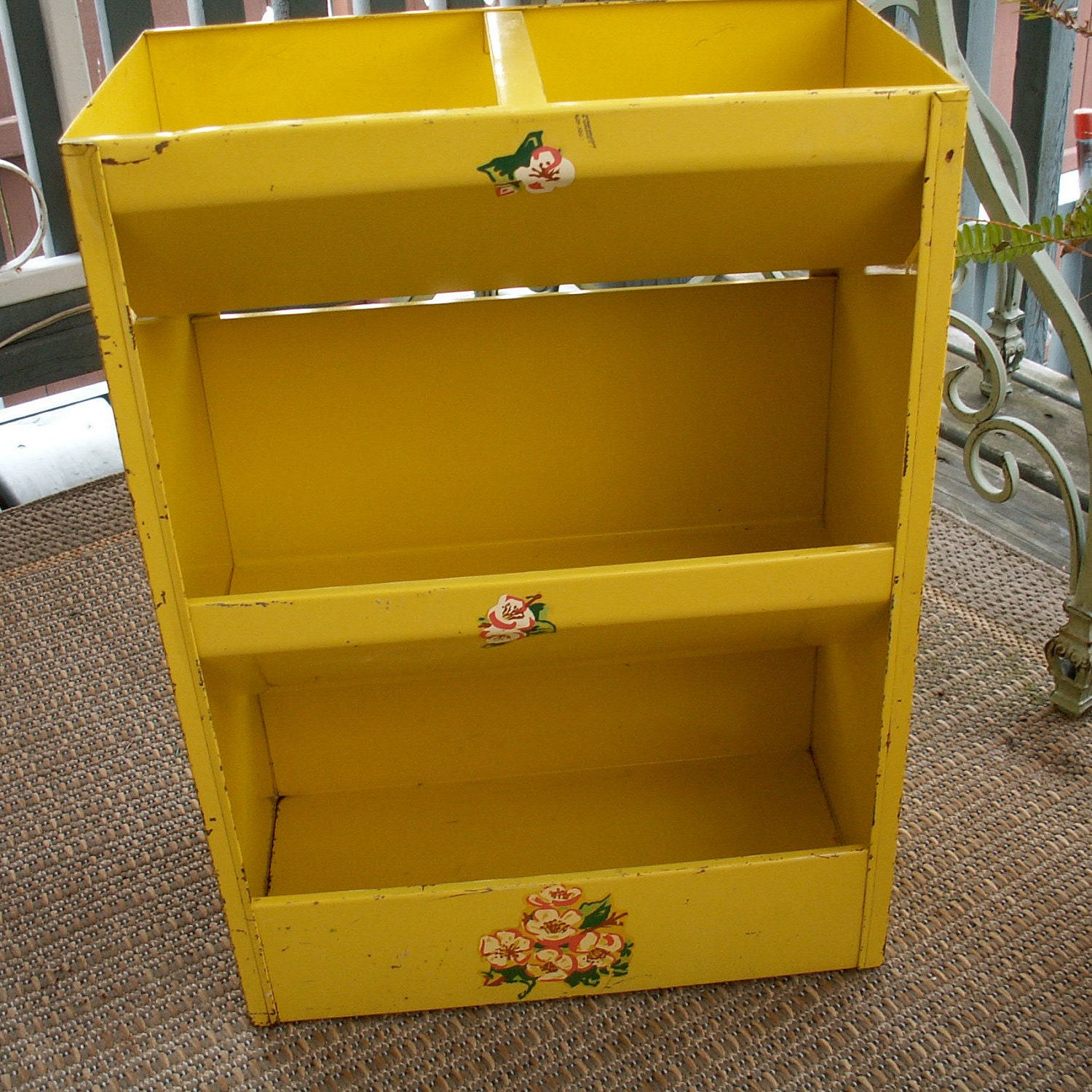 Vintage Yellow Metal Vegetable Bin By Lookingforyesterday