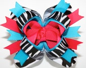 SALE 10% off coupon..Like Lebelle Boutique on Facebook..Mini Hot Pink Blue Zebra Print Stacked Boutique Hair Bow...M2M Mud Pie Wild Child