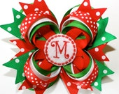 """10% off by liking Lebelle Boutique on Facebook...4"""" Personalized Christmas Holiday Polka Dots Red Green White Stacked Hair Bow"""
