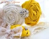 Bridal Garter Set- Vintage Romance Wedding Garter Set (Design 2) - Marigold Sunshine Yellow