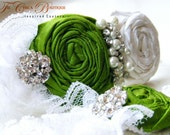 Lime Green Bridal Garter Set- Ruffles and Lace Design 2- Green Lace and Pearls