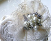 Vintage Glam- Dupioni Silk and Lace Bridal Hair Piece