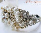 Custom Bridal Cuff Bracelet- Vintage Glamour
