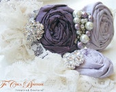 Bridal Garter Set- Ruffles and Lace Design 2- Fields of Lavender