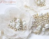 Glamourous Lace Applique Wedding Garter Set- Haute Couture Series- (Design 1)