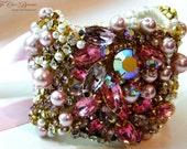 Bridal Cuff Statement Bracelet- Ombre- Rhinestone and Pearl Bridal Statement Bracelet- OOAK- Vintage Glamour- Cuff Bracelet