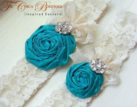 Wedding Garter Set- Ruffles and Lace- Custom Colors- The Chica Boutique Original
