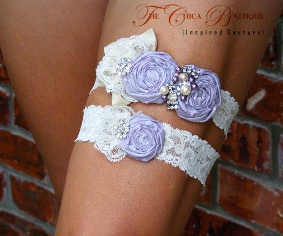 Bridal Garter Set- Ruffles and Lace Design 3- Lavender Ice