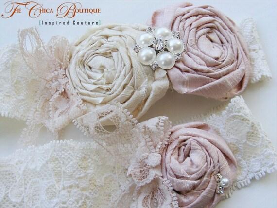 Vintage Romance Bridal Garter Set (Design 2)- Vintage Pink and Cream with Pearls