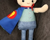Scrappy Boy cloth rag doll - felt hair - fabric doll - soft toy for children