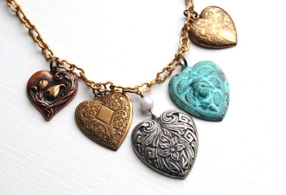 Multi Metal Vintage Hearts Necklace on Etched Vintage Brass Peanut Chain - 16 - 18 inch