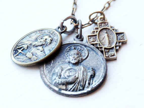 3 Vintage Religious Medals Necklace - St Jude, St Paul, Cross - 30 inch plated chain
