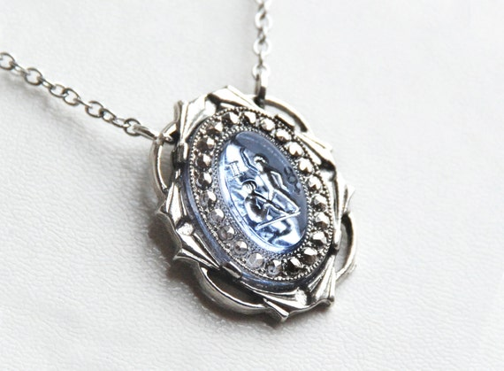 LAST ONE Vintage Glass GEMINI Lt Blue Stone Necklace - Ornate Silver Setting - 16.5 inch
