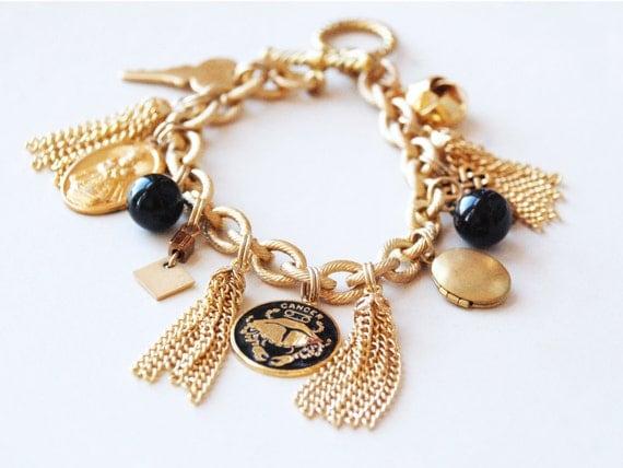 Zodiac Vintage Charm Bracelet - gold-black - pick CANCER, LIBRA, SAGITTARIUS
