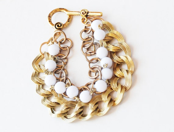 VIntage White Bead Chain, Gold link and Brass Double Link Bracelet