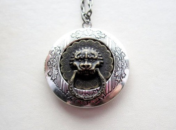 RESERVED-Old Stock Silver Detailed locket with Antiqued Brass Gargoyle Doorknocker - 25 inch silver plated etched chain
