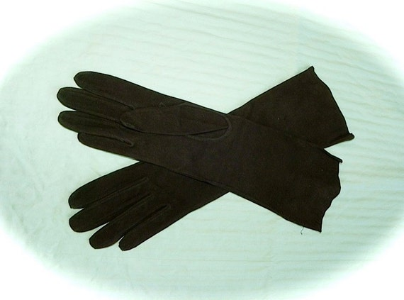 French Dead Stock Vintage Flapper 20s 30s Chocolate Long KID LEATHER Vamp Gloves Sm Med -on sale-