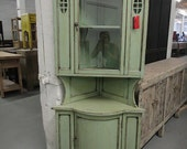Asian Inspired China Storage Corner Cabinet in Antiqued Mint Green (Los Angeles)