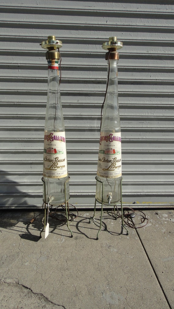 SALE-Pair of Vintage Glass Italian Galliano Liquer Lamps (Los Angeles)