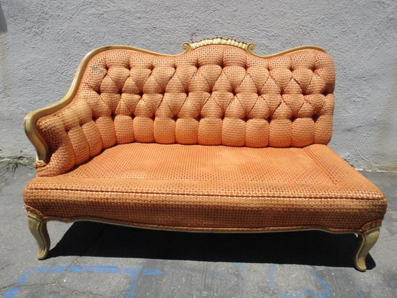 RESERVE-CELESTE-French Vintage One Arm Settee Sofa with Orange Chenille Fabric (Los Angeles)