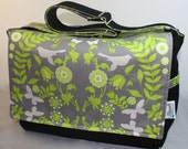 Designer Diaper Bag Large in Grey Impressions with Black Hemp - FREE shipping