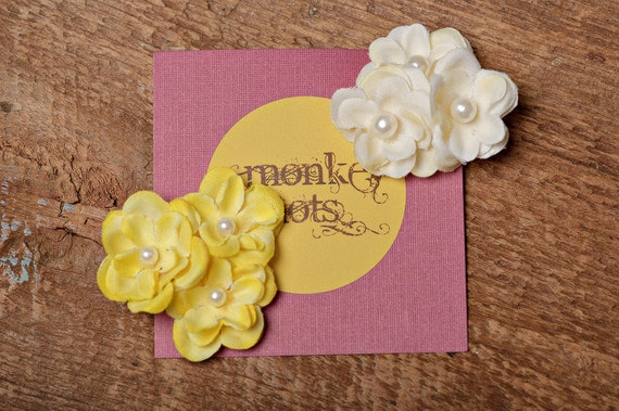 Spring Colors Triple Flower Hair Clip Set, Pink, Yellow, Cream, Ready to Ship