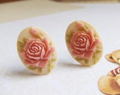 Handmade Cufflinks, Rose, Cameo Cufflinks, Pink, Peach, Fashion Accessories by Daintyhob on Etsy